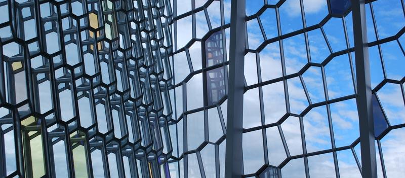 Blick von innen durch eine Glasfassade mit unregelmäßiger, netzartiger Struktur