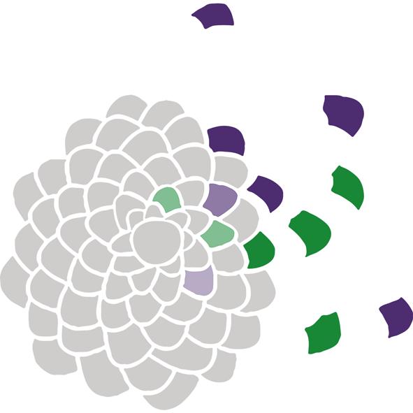 Stilisierter grauer Tannenzapfen, von dem einzelne, färbige Schuppen nach außen wegfliegen