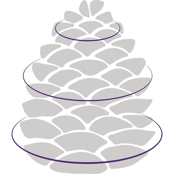 Stilisierter grauer Tannenzapfen mit drei violetten Ringen